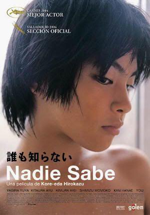 """Cartel de """"Nadie Sabe"""" (""""誰も知らない"""", """"Daremo Shiranai"""") de Hirokazu Koreeda"""