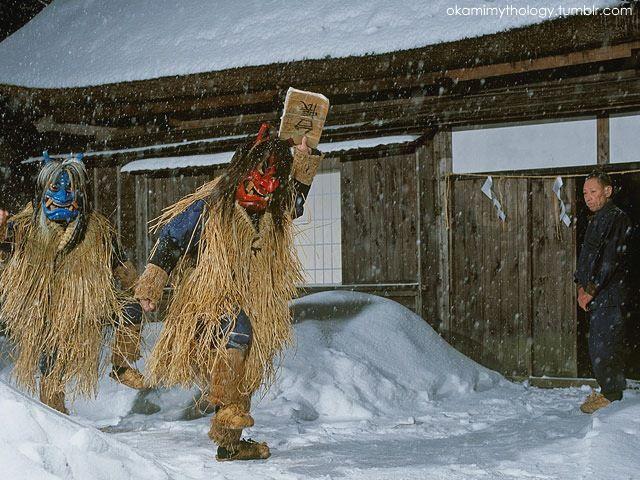 Namahage visitando las casas (Akita, Japón)