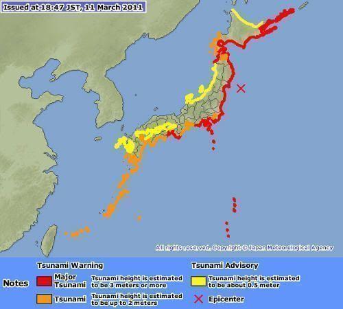 Alerta de riesgo alto de tsunami tras el terremoto del 11 de marzo de 2011