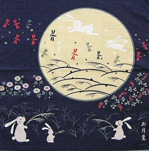 "Pañuelo ""furoshiki"" con el tema del jyugoya (tsukimi)"