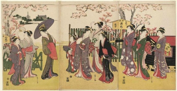 Pintura Ukiyo-e sobre el hanami