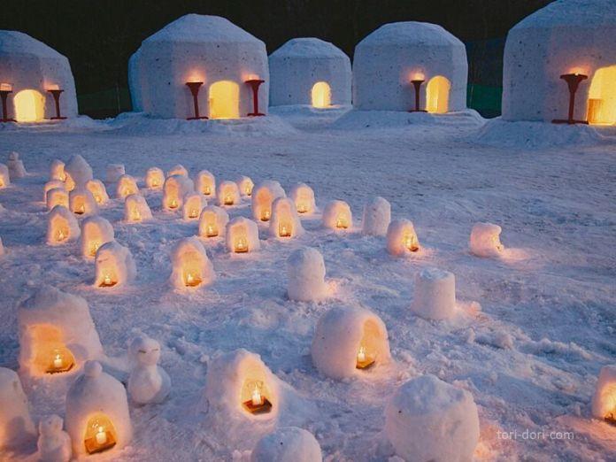 Las kamakura de nieve del festival de Yunishigawa (Tochigi)