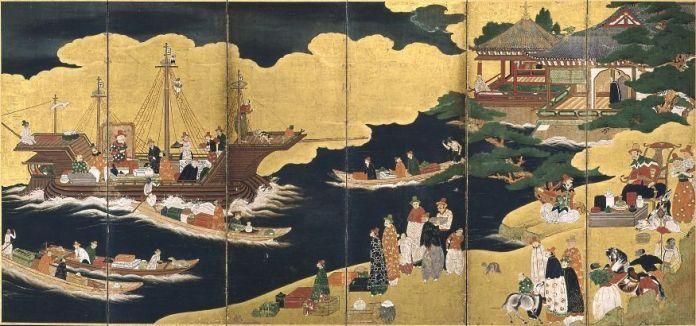 Grabado Namban plasmando la llegada de un barco portugués a las costas japonesas
