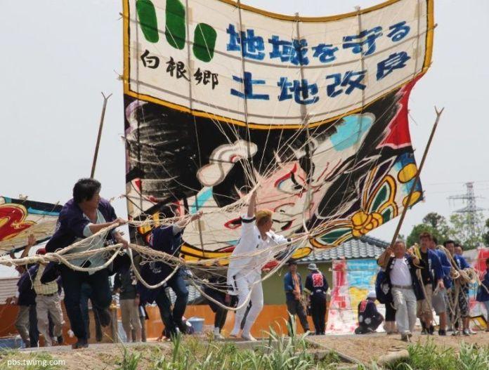 Festivales de Japón: el Shirone Ootako Gassen, un festival celebrado en la ciudad de Niigata en el que enormes cometas luchan