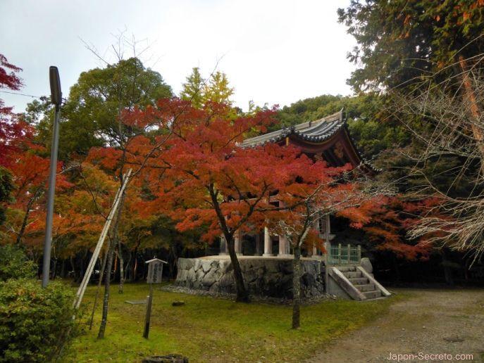 Edificio del templo Daigoji (Kioto) en otoño. Momiji