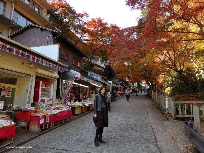 """Alrededores del santuario Tanzan (""""Tanzanjinja"""", 談山神社) en Sakurai (prefectura de Nara). Multitud de puestos de comida y tiendas."""