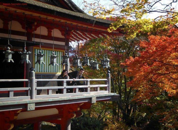 """En el balcón de los faroles de bronce del santuario Tanzan (""""Tanzanjinja"""", 談山神社) en Sakurai (prefectura de Nara). Rodeado de una densa y rojiza arboleda en otoño."""