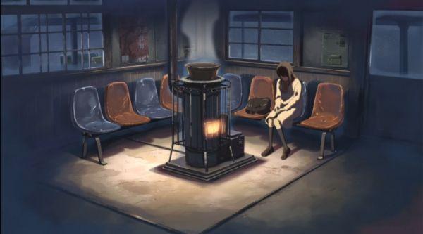 "Sala de espera de una estación de tren en invierno en Japón. ""Cinco Centímetros Por Segundo""(秒速5センチメートル) de Makoto Shinkai"