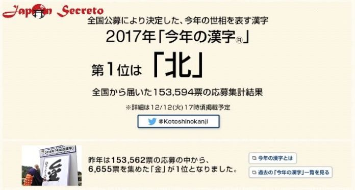 Votos para elegir el Kanji del Año en Japón 2017