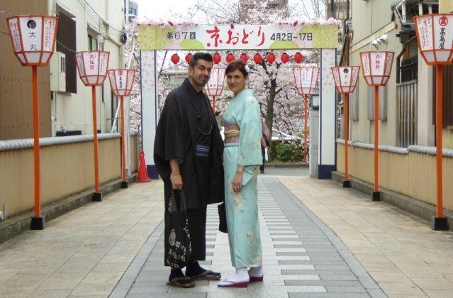 Distrito de geishas de Miyagawachō (宮川町) en Kioto durante la floración de los cerezos en primavera y el festival Kyō Odori (京おどり)