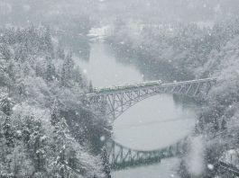 Línea Tadami de tren. Tohoku. Prefectura de Fukushima. Invierno y nieve