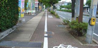 Normas de circulación para bicicletas en Japón. Foto de un carril bici en Kioto.