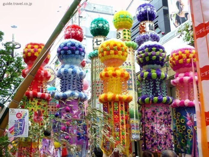 Festivales de Japón: el Sendai Tanabata Matsuri, el mayor festival de Tanabata de Japón, celebrado en agosto en Sendai (Tohoku)