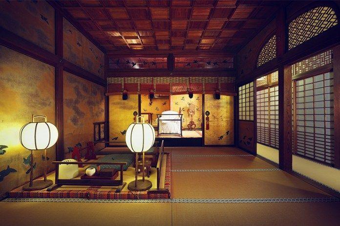 Viajar a Shikoku. Dogo Onsen (Matsuyama, Ehime). Casa de baños Dogo Onsen Honkan. Sala Yushinden