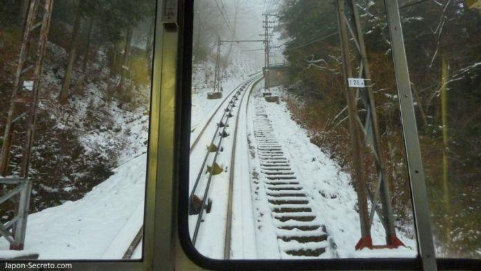 Funicular de Gokurakubashi. Nieve en invierno