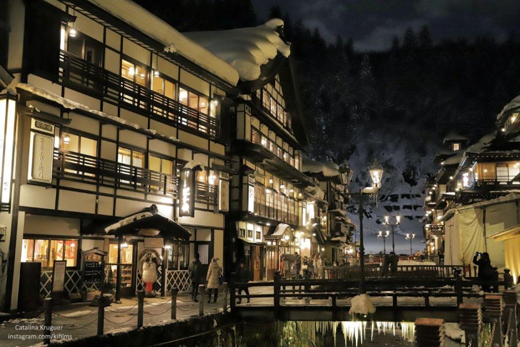 Vista principal de Ginzan Onsen (銀山温泉), pueblo balneario en la prefectura de Yamagata (Tohoku, Japón).