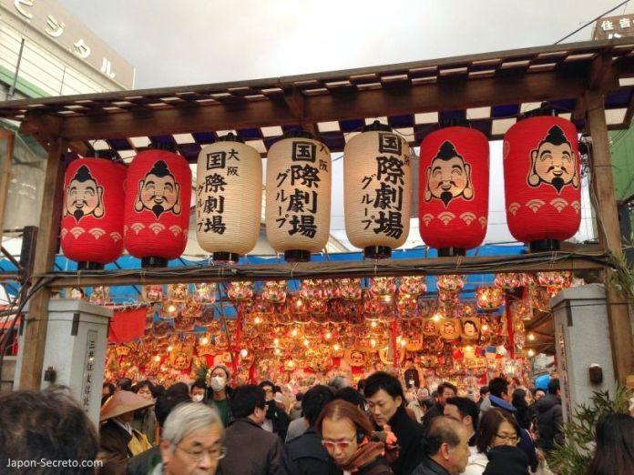 """Festival Tōka Ebisu Taisai (十日えびす大祭) o """"Gran Festival del décimo día de Ebisu"""" en enero en el santuario Imamiya Ebisu de Ōsaka (今宮戎神社)"""