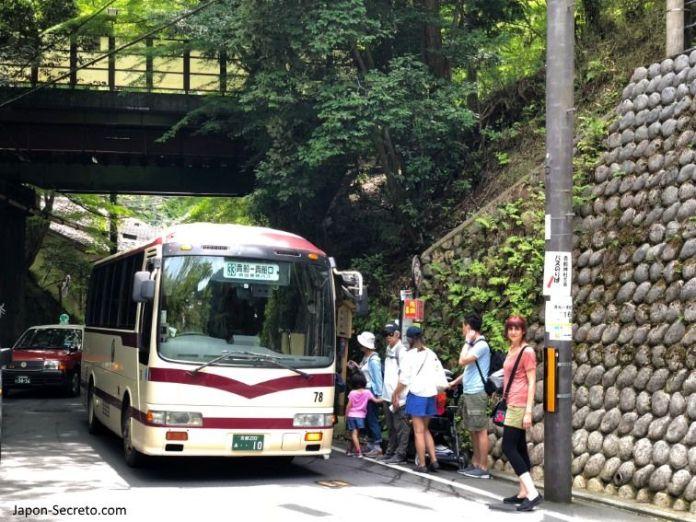 Excursión a Kibune (Kioto). Autobús de Kibuneguchi a Kibune.