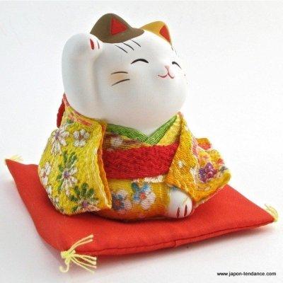 Manekineko en kimono Jaune