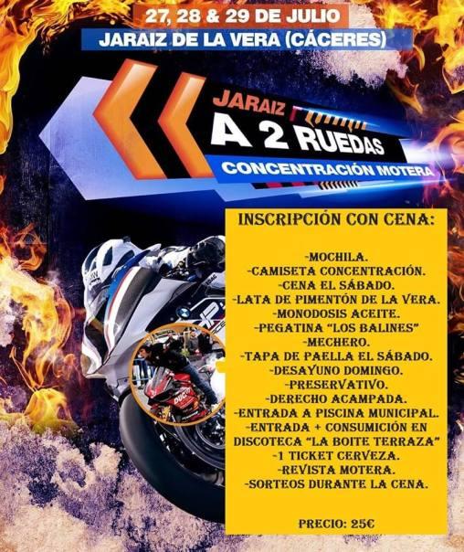 Inscripción con Cena en la II Concentración Motera Jaraíz a dos Ruedas 2018