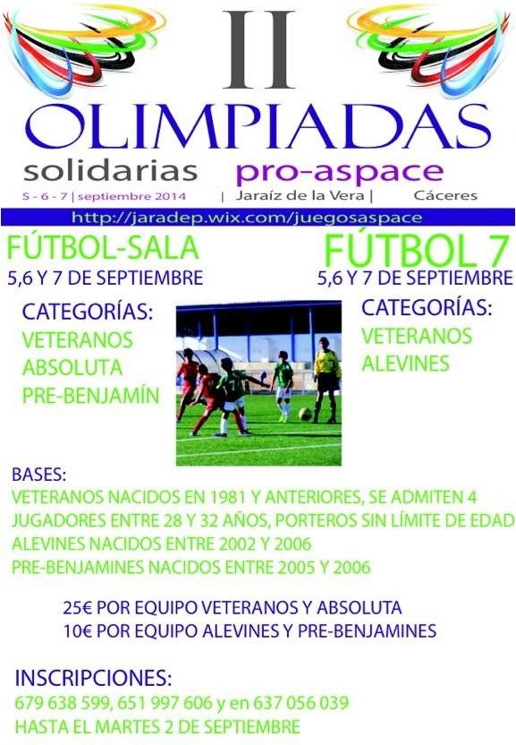 Torneo de Fútbol7 y Fútbol-Sala en las II Olimpiadas Solidarias Pro-Aspace