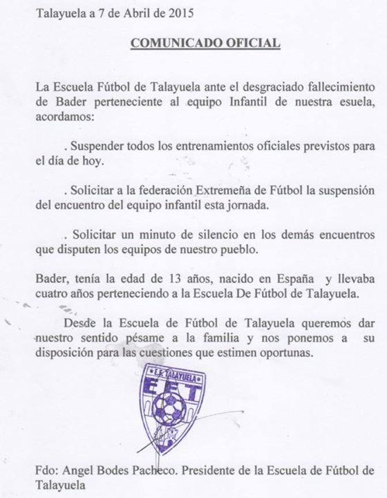 Comunicado oficial del C.P. Talayuela