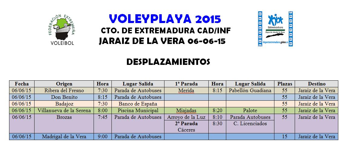 Desplazamientos - Voley Playa - Campeonato de Extremadura 2015 Jaraíz de la Vera