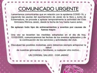 Comunicado oficial del Club Gimnasia Rítmica Jaraíz - COVID-19