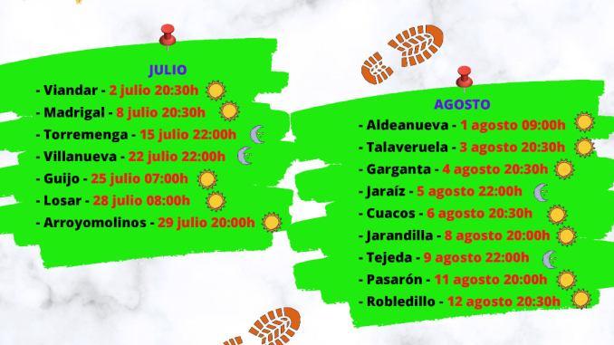 calendario de rutas senderistas por toda la Vera para el verano 2021