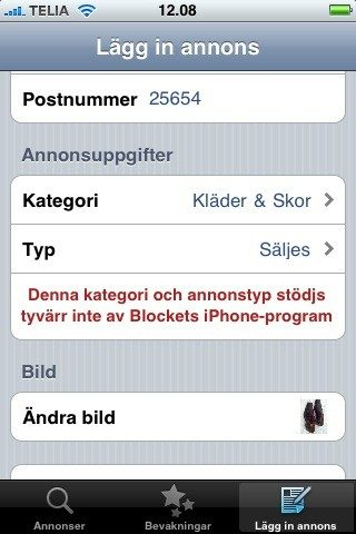 Blocket iPhone app – FAIL!