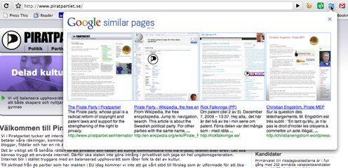 Googles uppfattning om Socialdemokraterna och Piratpartiet