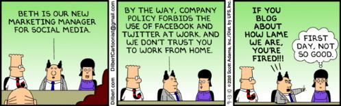 Dilbert om att facebooka på jobbet...