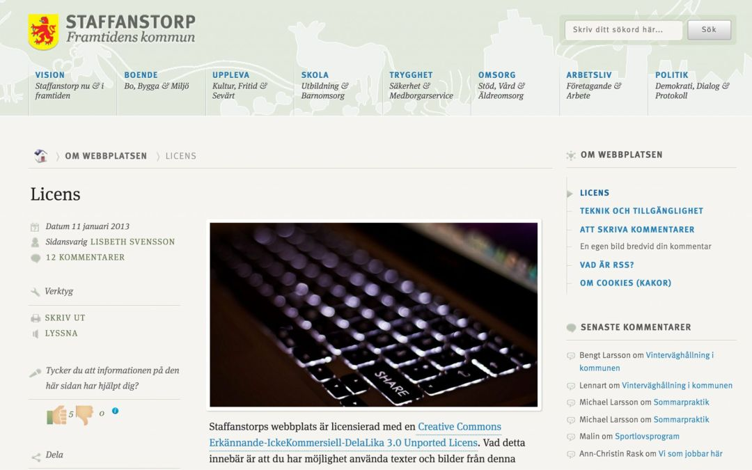 Staffanstorp tar täten med WordPress, Creative Commons, OpenStreetMap…