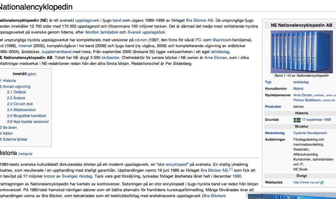 Wikipedia om Nationalencyklopedin (NE.se) – och tvärtom