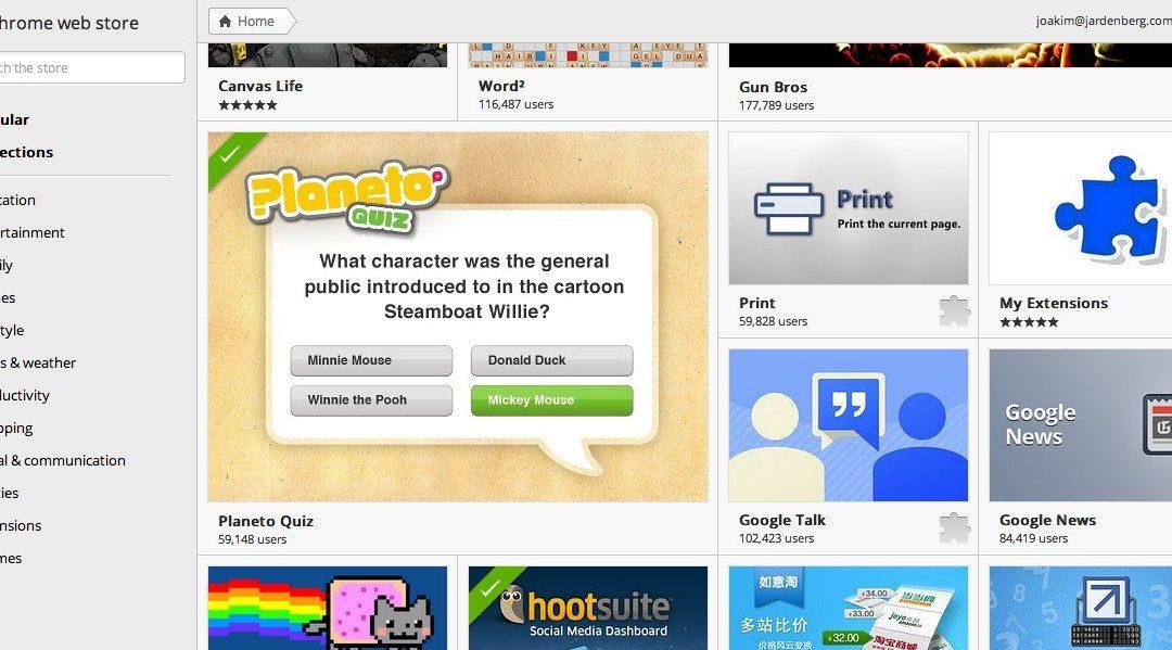 Planeto i Chrome Web Store