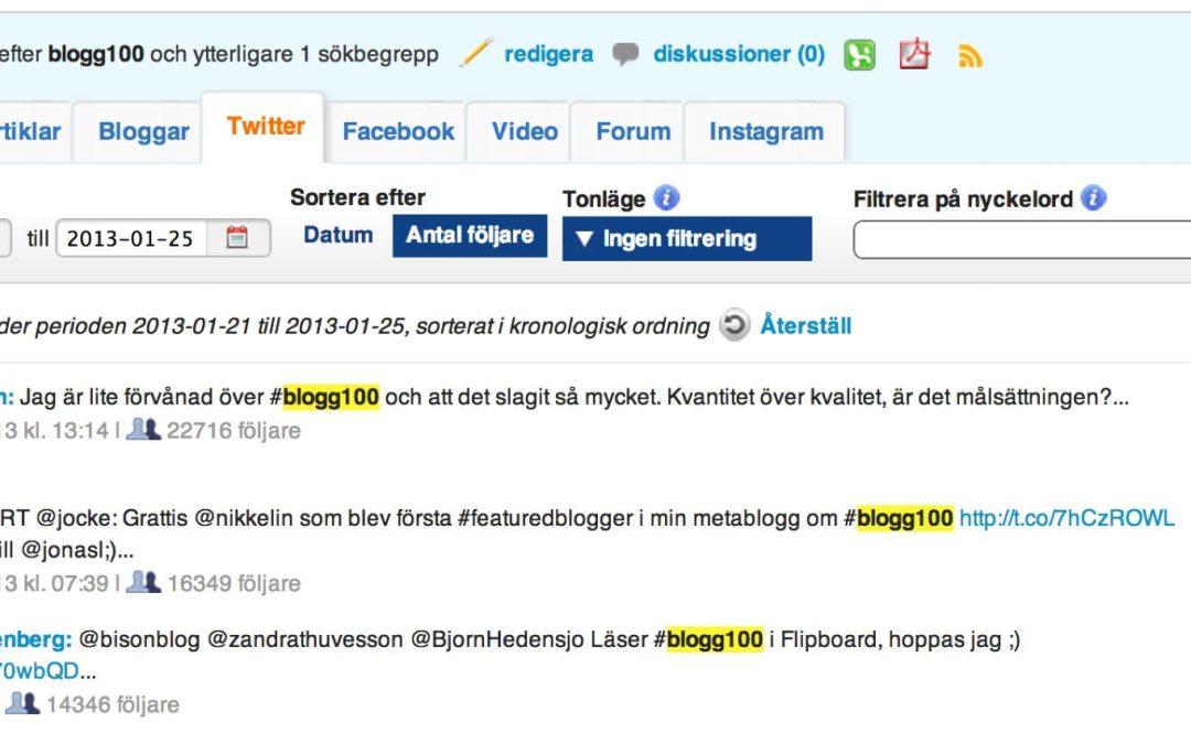 #003 av #blogg100 – om att dubbelkolla siffror och om Lotten, roligast i bloggosfären