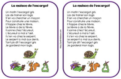 Comptines vers les maths ms p riode 4 le jardin d 39 alysse - La maison des escargots ...