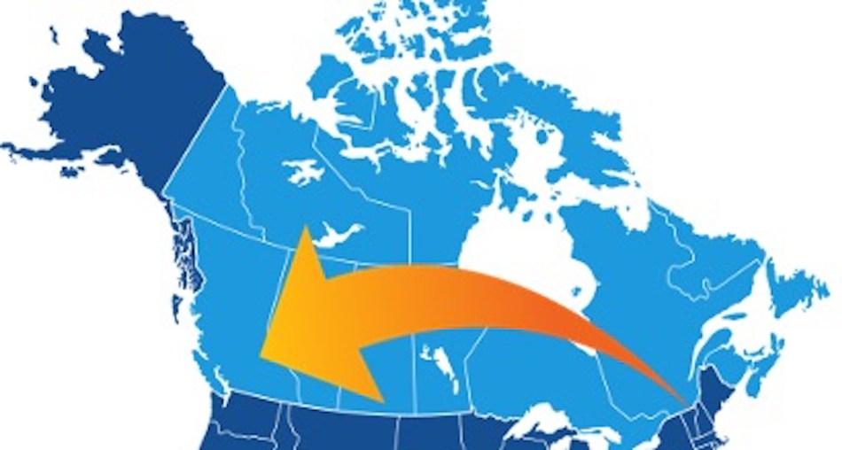 Carte du Canada avec une flèche indiquant un grand déménagement