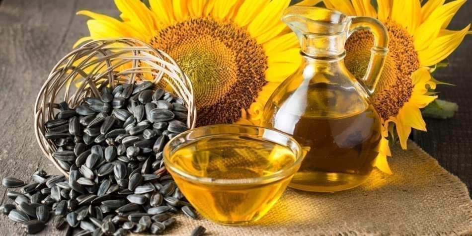 Huile, miel, fleurs et graines de tournesol
