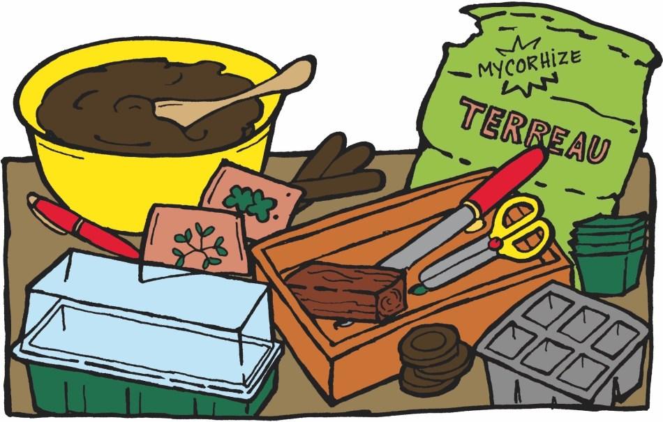 Matériaux nécessaires pour faire un semis: terreau, seaux, pots, etc.