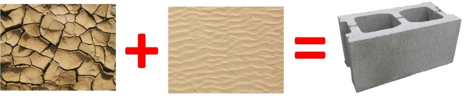 Glaise plus sable égale béton
