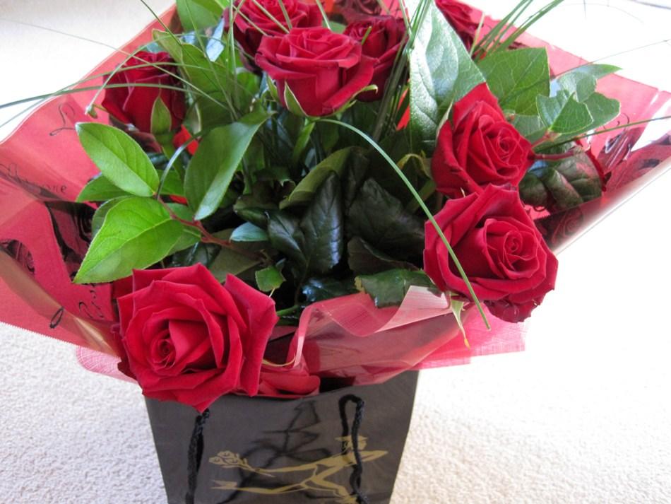 Bouquet de roses rouges.