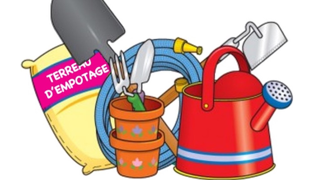 Illustration montrant des outils de jardinage