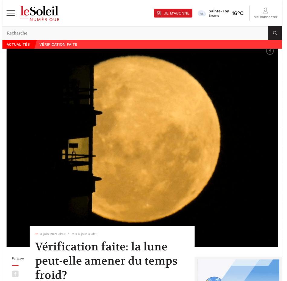 Saisi d'écran d'un article dans le journal Le Soleil.