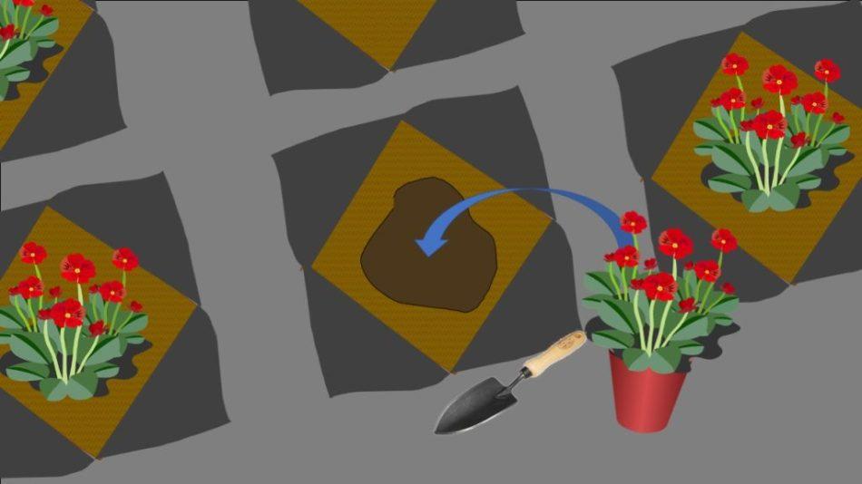 Préparation d'un trou de plantation dans un jardin couvert de géotextile.
