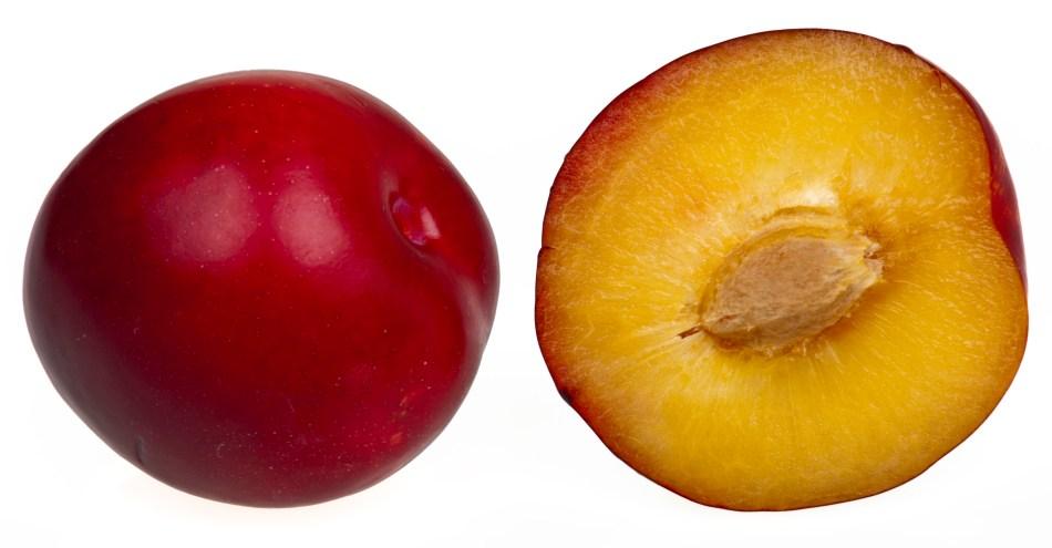 Prune coupée en deux pour montrer le noyau.