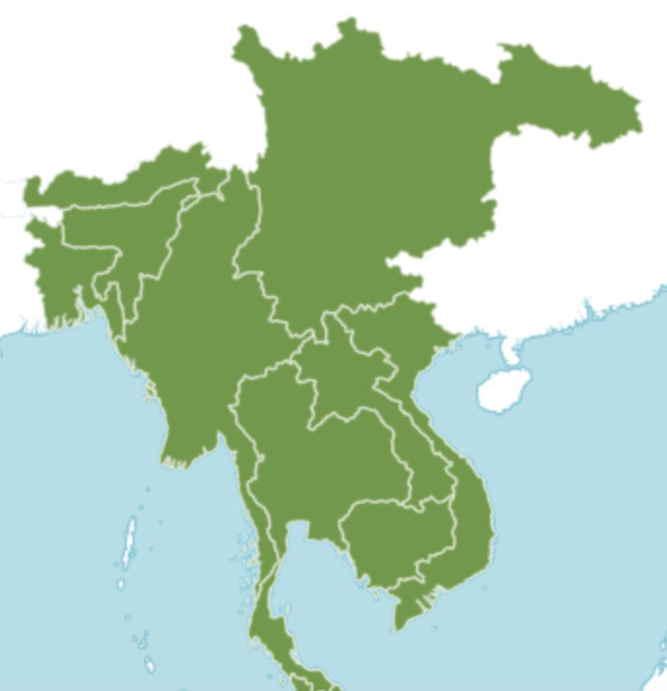 Carte montrant l'aire de répartition du figuier à feuilles de sabre dans l'Asie du Sud-Est.