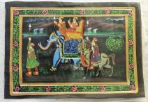 Pitchway peint à la main sur tissu représentatif de scène indienne, INDE - Dimension : 23.5 cm x 32.5 cm - Prix de vente : 17€.