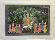 Pitchway peint à la main sur tissu représentatif de scène indienne, INDE - Dimension : 24 cm x 33 cm - Prix de vente : 50€.