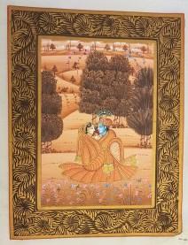 Pitchway peint à la main sur tissu représentatif de scène indienne, INDE - Dimension : 26.5 cm x 33.5 cm - Prix de vente : 55€.